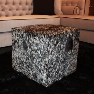 Decenni Custom Furniture Salt and Pepper Genuine Cowhide Ottoman