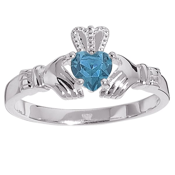 sterling silver birthstone colored claddagh ring