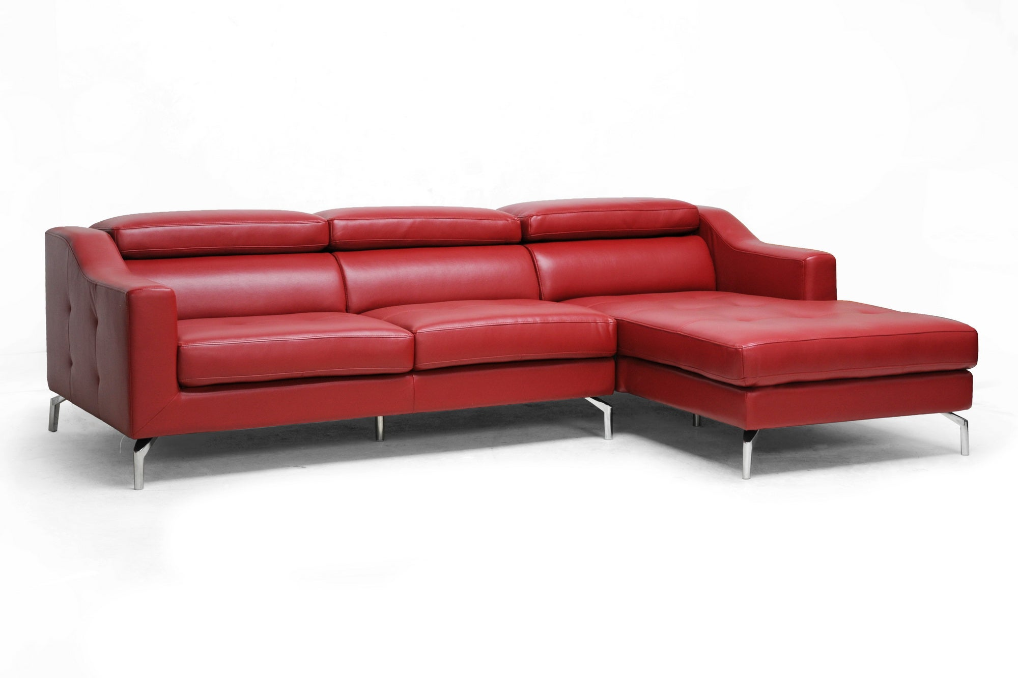 Levi Red Leather Modern Sectional Sofa Overstock