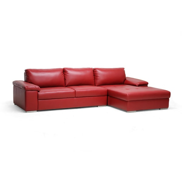 Dawson Red Leather Modern Sectional Sofa Overstock