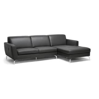 Donovan Grey Leather Modern Sectional Sofa
