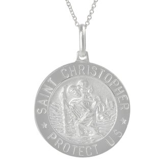 Journee Collection Silver Italian Holy St. Christopher 'Protect Us' Disc Necklace