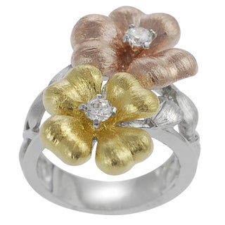 Journee Collection Tri-tone Rose Gold Silver and White CZ Flowers Ring
