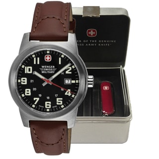 Wenger Men's Classic Field Black Dial Brown Leather Watch /Swiss Army Knife Gift Set���