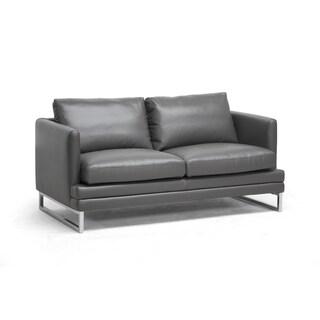 Dakota Pewter Grey Leather Modern Loveseat