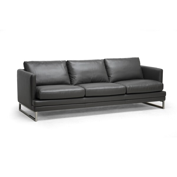 Dakota Pewter Grey Leather Modern Sofa 14919454 Overstock Shopping Great Deals On Baxton
