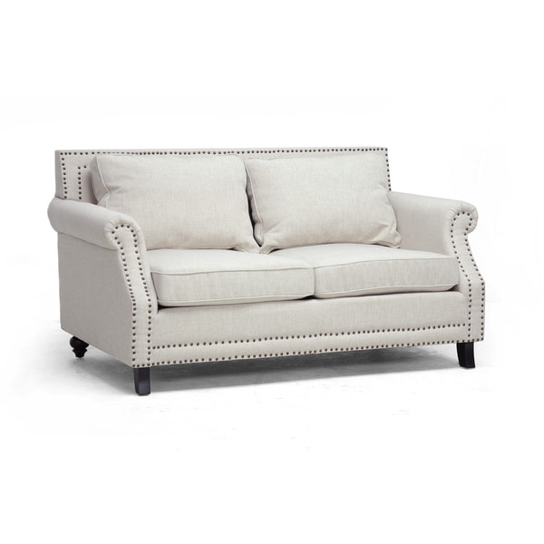 Baxton Studio 39 Mckenna 39 Beige Linen Modern Loveseat 14919457 Shopping Great