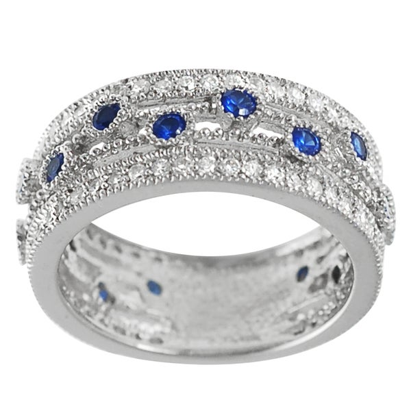Journee Collection Sterling Silver Blue and White CZ Vintage Ring