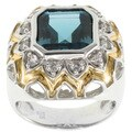 Michael Valitutti Jason Dow Two-tone London Blue Topaz Ring