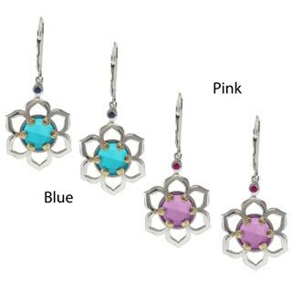 Michael Valitutti Jason Dow Silver Quartz Doublet and Sapphire Earrings
