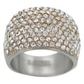 Journee Collection Stainless Steel CZ Vintage Wide Ring