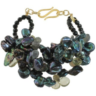 Michael Valitutti Peacock Pearl and Black Agate Bracelet (7-14 mm)