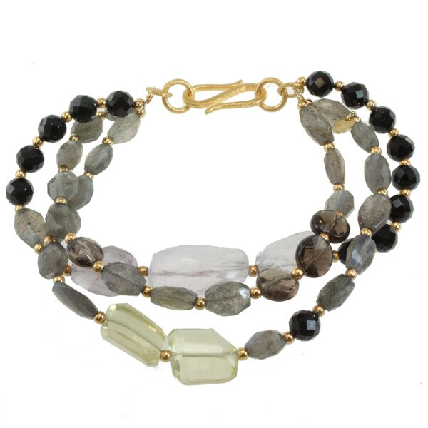 Michael Valitutti Two-tone Multi-gemstone Bracelet
