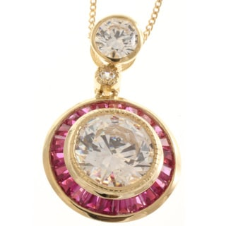 Michael Valitutti 14k Gold Cubic Zirconia and Created Ruby Necklace