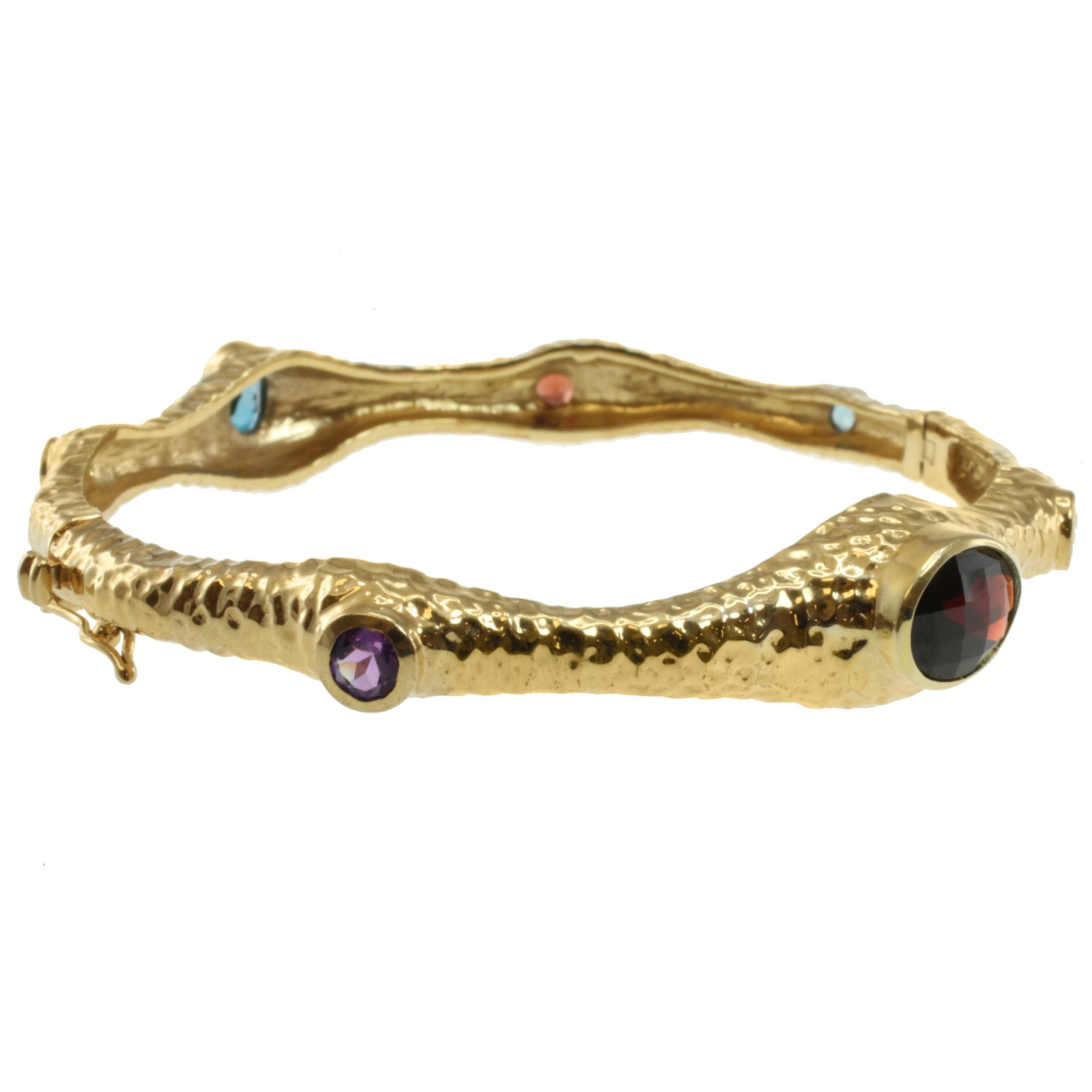 Overstock.com Michael Valitutti Two-tone Multi-gemstone Bangle at mygofer.com