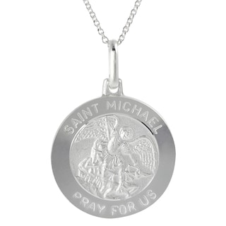 Tressa Silver Italian Holy Saint Michael 'Pray for Us' Disc Necklace