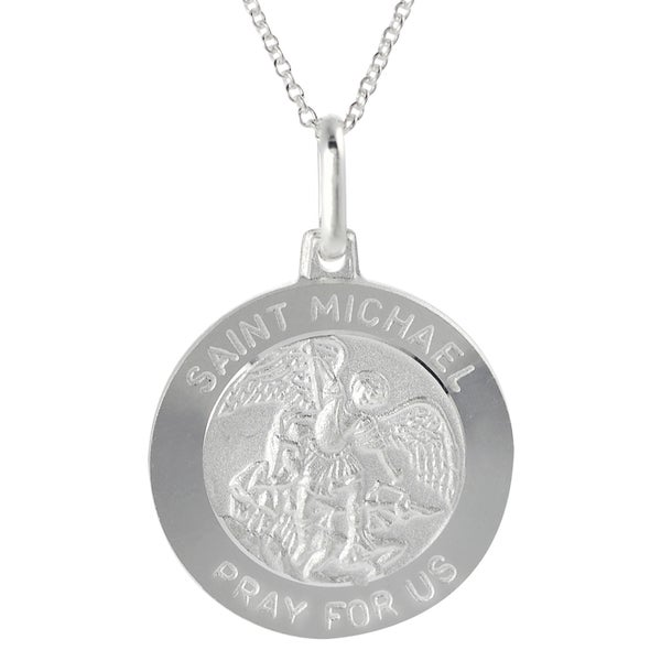 Journee Silver Italian Holy Saint Michael 'Pray for Us' Disc Necklace