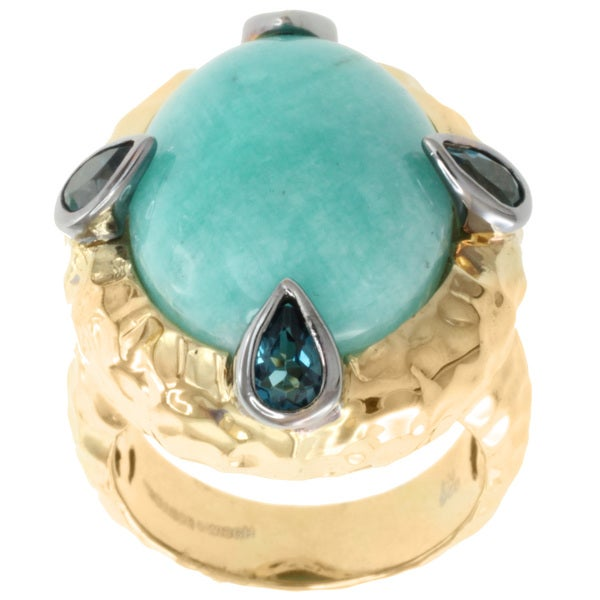 Michael Valitutti Two-tone Amazonite and London Blue Topaz Ring