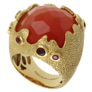 Michael Valitutti Two-tone Carnelian, Fire Opal, Garnet and Ruby Ring