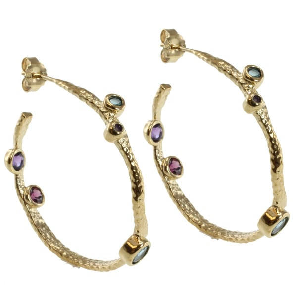 Michael Valitutti Two-tone Blue Topaz, Amethyst and Rhodolite Earrings