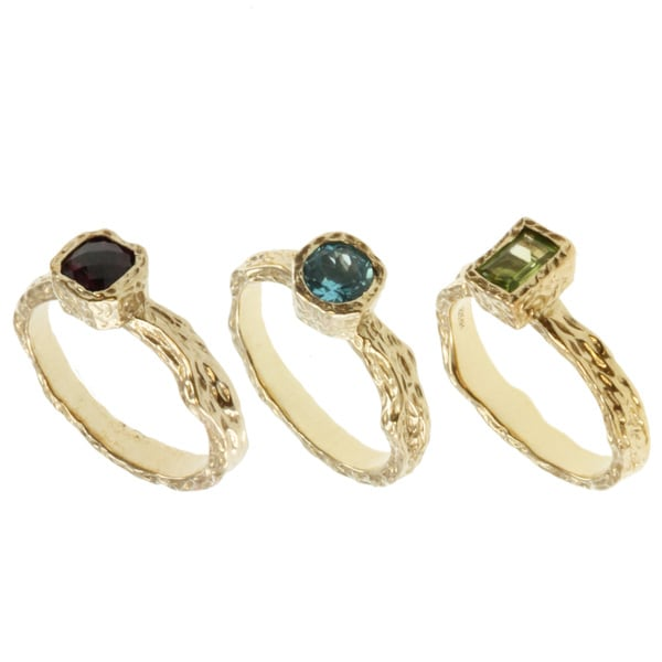 Michael Valitutti Rhodolite, Peridot and Blue Topaz 3-piece Ring Set