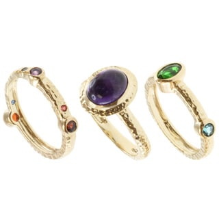 Michael Valitutti Gold over Sterling Silver Multi-gemstone 3-piece Ring Set