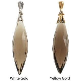 Michael Valitutti Signity 14k Gold Smokey Quartz and Diamond Pendant