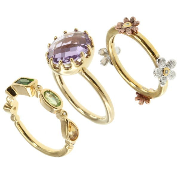 Michael Valitutti/ Colette Multi-gemsone and Diamond Stackable Ring Set