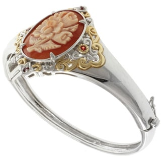 Michael Valitutti Two-tone Cameo and Orange Sapphire Bangle