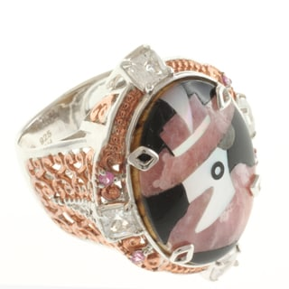 Michael Valitutti Two-tone Rhodochrosite, White and Pink Sapphire Ring