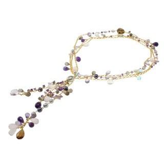 Michael Valitutti/ Colette Multi-gemstone and Pearl Necklace (7-13 mm)