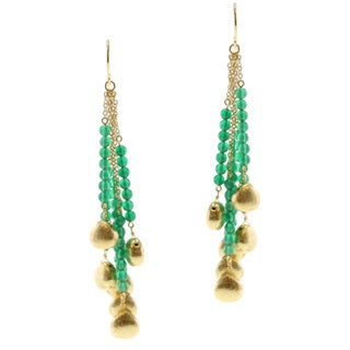 Michael Valitutti/ Kristen Gold over Silver Green Onyx Earrings