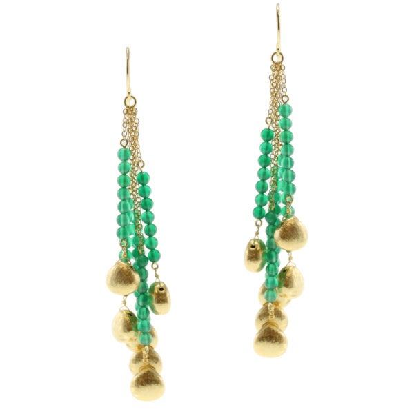 Michael Valitutti/ Kristen Gold over Silver Green Onyx Earrings