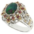 Michael Valitutti Two-tone Opal and Ruby Ring