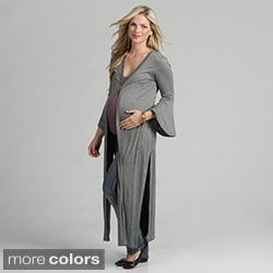 24/7 Comfort Apparel Women's Maternity Jersey Knit Duster Jacket