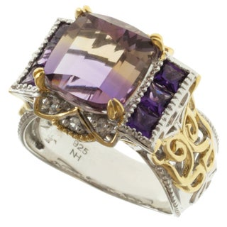 Michael Valitutti Two-tone Ametrine, Amethyst, White Sapphire Ring