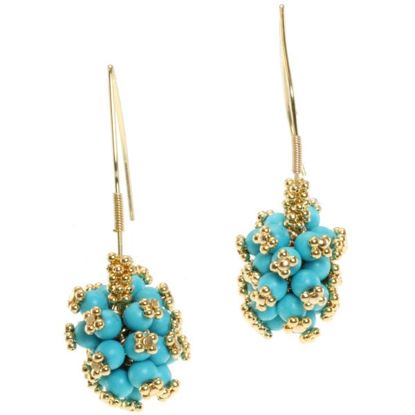 Michael Valitutti Kristen Gold over Silver Turquoise Earrings