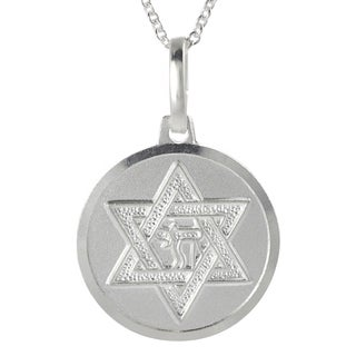 Journee Collection Silver Italian Holy Star of David Chai Disc Necklace