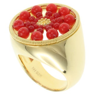 Michael Valitutti Kristen Gold over Silver Coral 'Sunburst' Ring