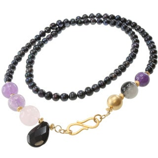 Michael Valitutti Multi-Gemstone and Pearl Necklace (8 mm)