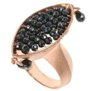 Michael Valitutti Kristen Gold over Silver Black Spinel Ring