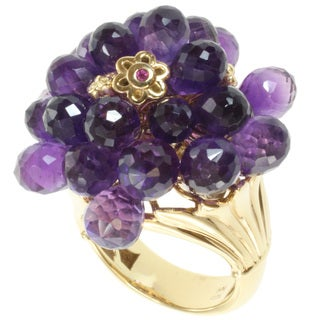 Michael Valitutti Kristen Amethyst and Pink Sapphire Ring