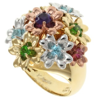 Michael Valitutti Kristen Gold over Silver Multi-Gemstone 'Flower' Ring