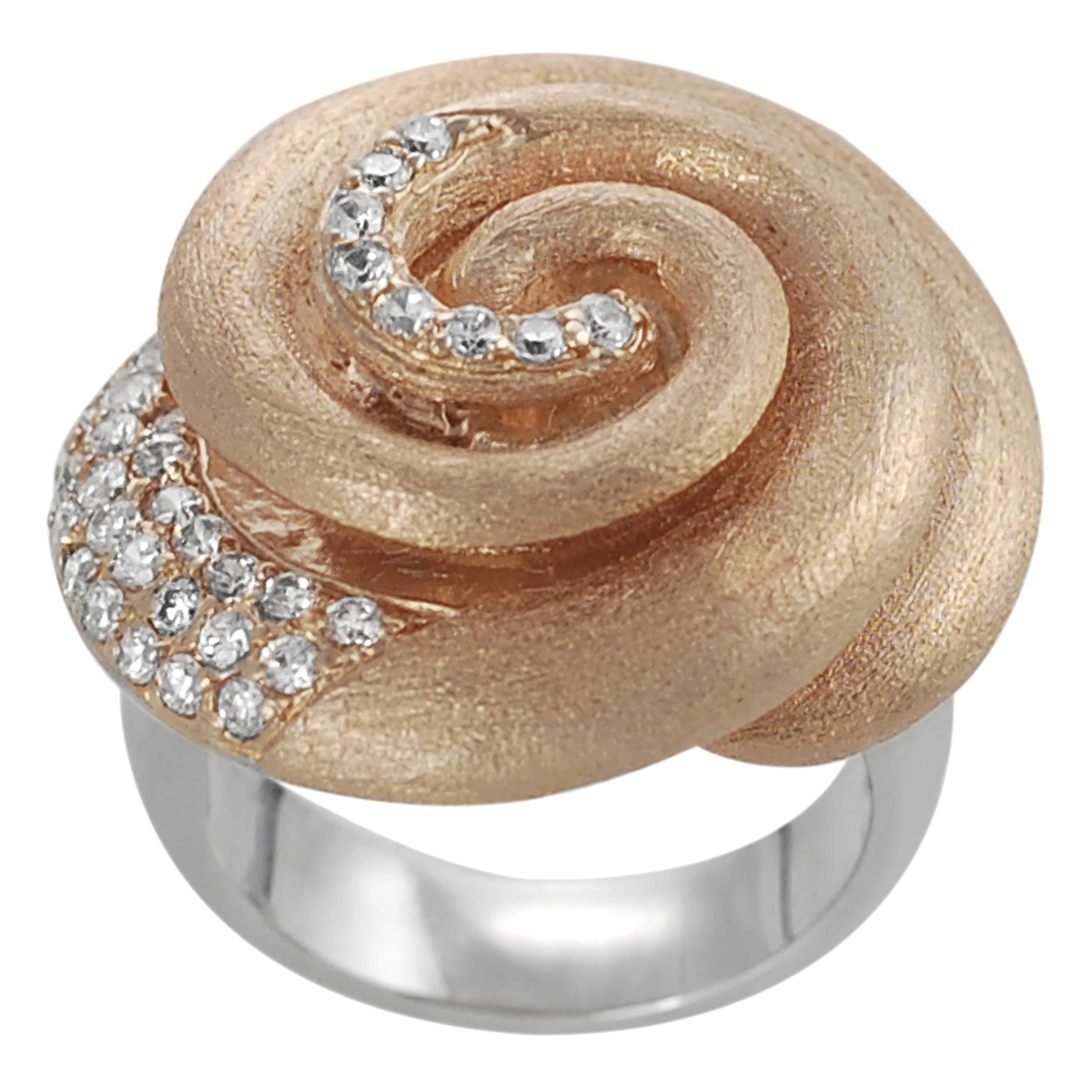 Journee Collection Journee Collection Rose Goldplated Silver White CZ Vintage Spiral Ring