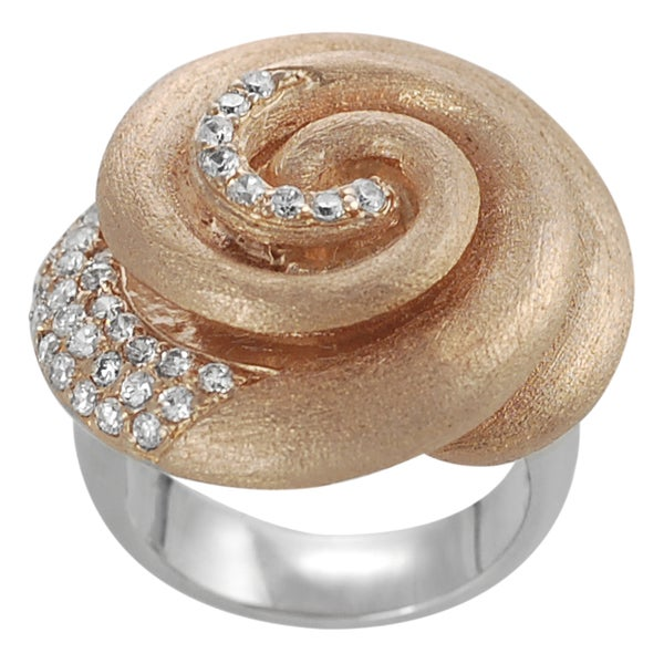 Journee Collection Rose Goldplated Silver White CZ Vintage Spiral Ring