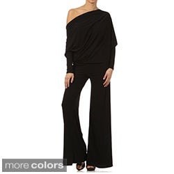 Tabeez Women's Black Jersey Draped Jumpsuit