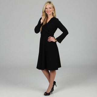 Women's Black Mock Wrap Dress