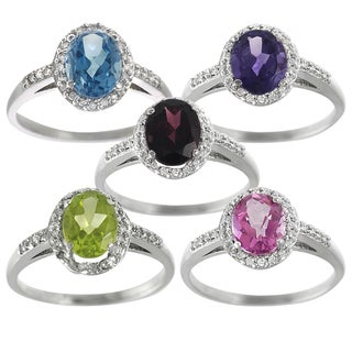Tressa Sterling Silver Gemstone and 1/10ct TDW Diamond Ring (G-H, I2-I3)