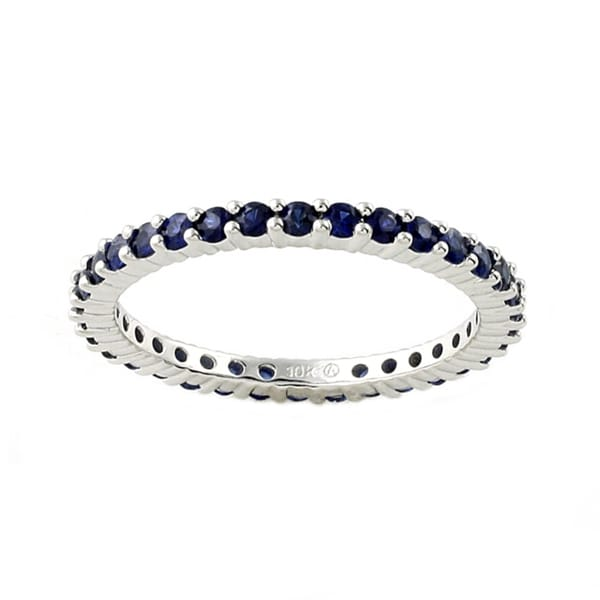 Beverly Hills Charm 10k White Gold Blue Sapphire Eternity Band