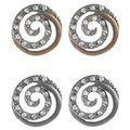 Journee Collection Steel CZ Vintage Mod Spiral Earrings
